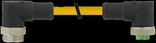 Mini (7/8) 5 pole, Male (Ext.) 90°/Female 90°,