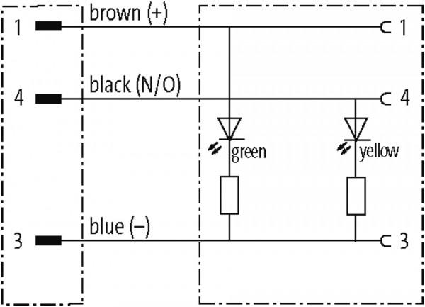 M8 male 90° / M12 female 90° LED