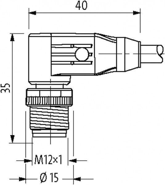 M12 male 90° shielded B-cod.with cable, Profibus