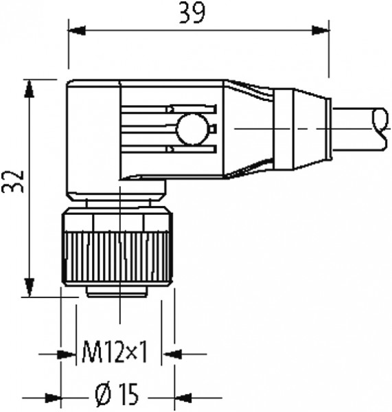 M12 male 0° / M12 female 90° shielded