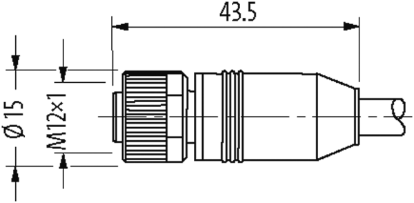 M12 female 0° / RJ45 male 0° shielded Ethernet