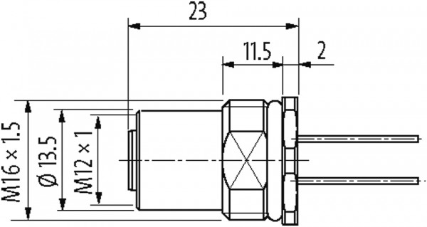 FLANGE M12 FEMEA RETO A-CODED 5 POLOS 0,5 METROS