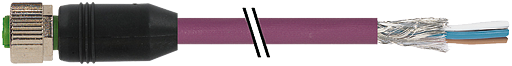 M12 female 0° with cable CANopen/DeviceNet