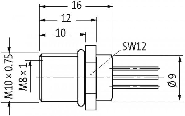 M8 female receptacle rear mount