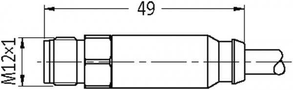 M12 male 0° / M12 female 90° Steel