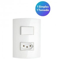Conjunto Interruptor Simples + Tomada 2p+T 10a 250v
