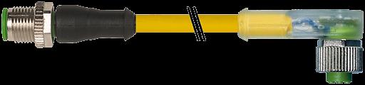 CABO PUR TIPO 3 M12 MACHO RETO+FEMEA 90LED 4P/AMARELO 6 0M