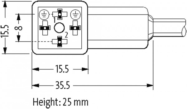 CABO PVC 8MM 24VAC/DC DIODO ZENER+LED 2POLOS+TERRA CINZA 7M