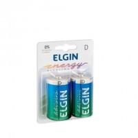 Pilha AA Alcalina Elgin Grande D LR20