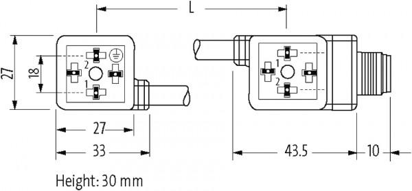 ADAPTADOR PUR DUPLO 18MM+M12 MACHO 4 POLOS - DIODO ZENER - AMARELO - 110MM