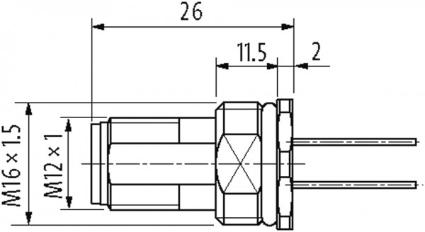 M12 male receptacle A-cod. rear mount