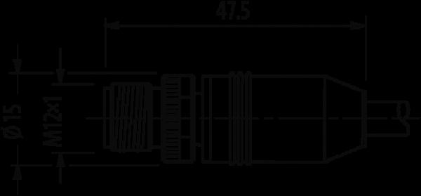 M12 male 0° / RJ45 male 0° shielded Ethernet