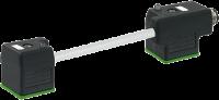 ADAP PUR/PVC 18MM DUPLO 24VAC/DC 2POLOS+TERRA DIODO ZENER+LED CINZA 110MM M12 741561-2260000