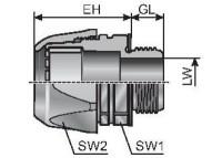 VG M25-M TERMINACAO RETA CINZA P/ CONDUITE ROSCA M25 P/ MURRFLEX M25/P21 MP83511218