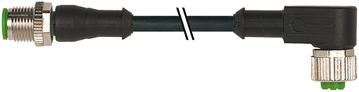 CABO PUR/PVC M12 MACHORETO+FEMEA90 4POLOS PRETO 3M