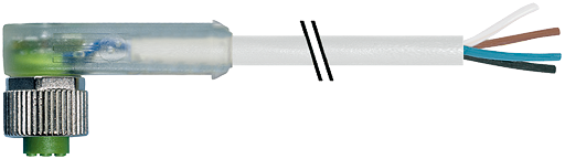 M12 female 90° with cable LED
