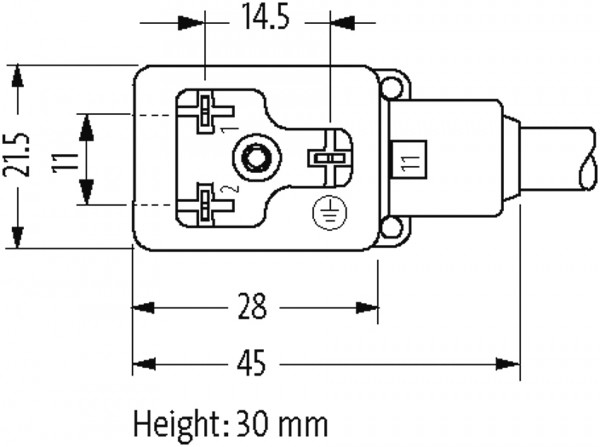 MSUD valve plug form BI 11mm with cable