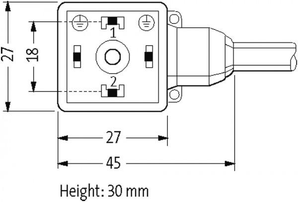 M8 MALE 90° 3 POLE / MSUD VALVE PLUG FORM A 18MM