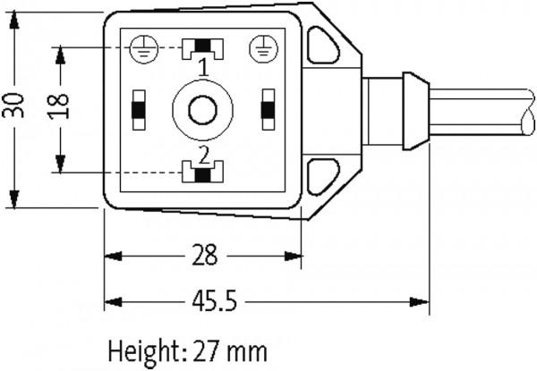 CABO PUR BASIC 18MM 24VAC/DC LED 2POLOS+TERRA PRETO 3M
