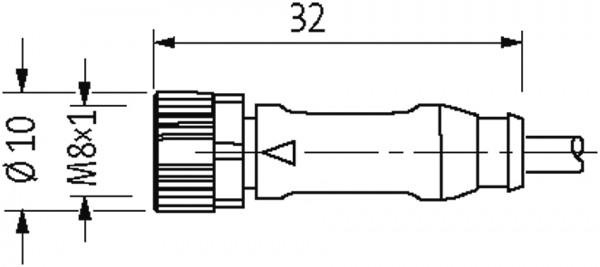 CABO PUR/PVC M12MACHO90+M8FEMEARETO 3POLOS CINZA 0 6M