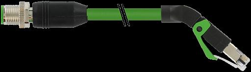 M12 male 0° / RJ45, 45° down, shielded, Ethernet