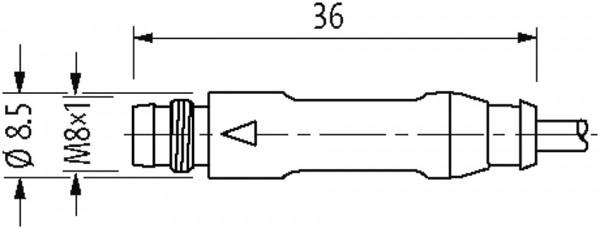 M8 male 0° / M8 female 90° snap-in