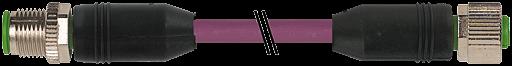 CABO PUR C/ CONEC M12 MACHO RETO+FEMEA RETO - 5POLOS - VIOLETA - 1,91M - UL/CSA