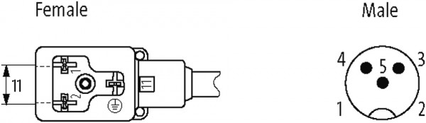 M12 MALE 90° / MSUD VALVE PLUG FORM BI 11MM