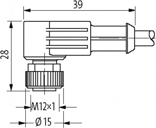 CABO PUR M12 MACHO 90/FEMEA 90 3 POLOS PRETO 0.5 METRO