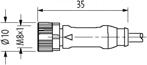 M8 male 0° / M8 female 0°, shielded EC