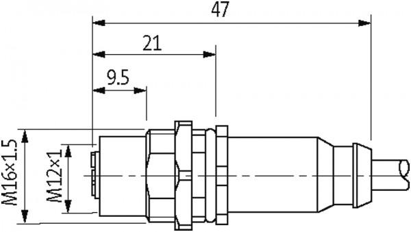 CABO M12 FEMEA COM RECEPTACULO SHILDADO MONTADO 3P 1,5M