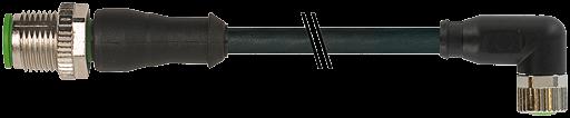CABO PUR M12 MACHO RETO + M8 FEMEA 90 GRAUS 4 POLOS PRETO 1,5 METROS ROBO