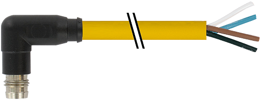 M8 male 90° snap-in with cable