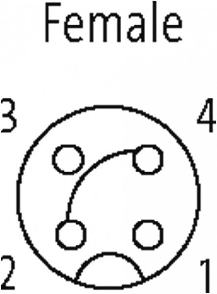 M12 FEMALE 0° LED