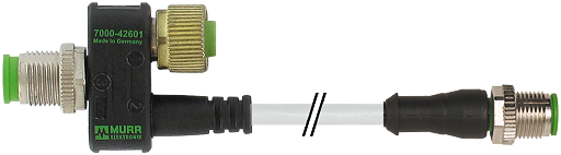 T-COUPLER M12 MALE / M12 MALE+CABLE+M12 FEMALE PUR 3X0.34 GY UL/CSA+DRAG CHAIN 0