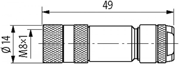CONECTOR FEMEA RETO M8 4 POLOS - RANGE DE 0 14 0 5MM