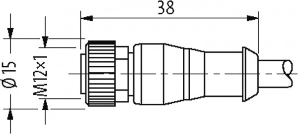 CABO M12 MACHO RETO+FEMEA RETO CUBE67 2 POLOS CINZA 0,30 METRO