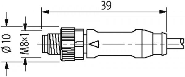 CABO PUR M8 MACHO RETO + M8 FEMEA 90 GRAUS LED 3 POLOS PRETO 1 METROS