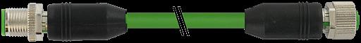 M12 male 0° / M12 female, 0°, shielded, Ethernet