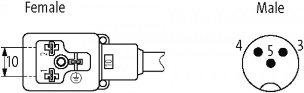 CABO PUR/PVC M12 MACHORETO 3P+10MM 24V AC DC CINZA 2M (CODIGO VELHO ME33052)