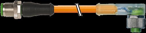 CABO FEMEA 90 C/ LED + MACHO RETO 3 METROS LARANJA IRRADIADO