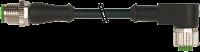 CABO PUR/PVC M12 MACHORETO+FEMEA90 4POLOS PRETO 1M 740121-6240100