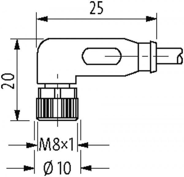 M8 male straight / M8 female 90°