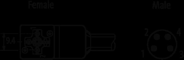 M8 MALE 90° / MSUD VALVE PLUG 9.4 MM(SMALL)