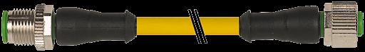 CABO PUR IRRADIADO M12 MACHORETO+FEMEARETO 5POLOS AMARELO 2M