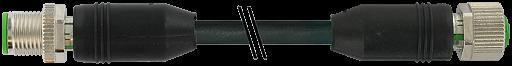 CABO PVC M12 MACHO RETO + M12 FEMEA RETO 8 POLOS PRETO 10 METROS