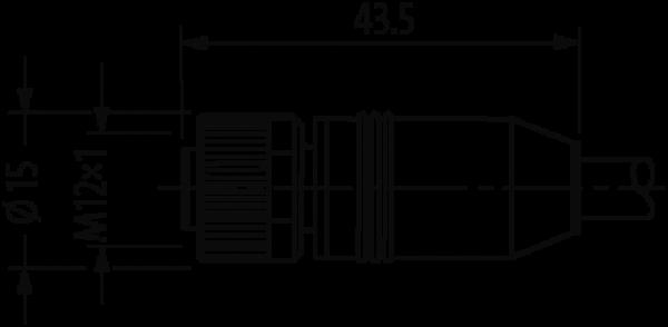 CABO PVC M12 MACHO RETO + FEMEA RETO 8 POLOS PRETO 2 METRO0S