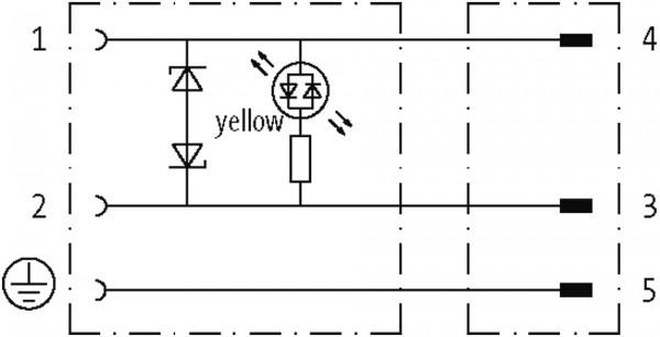 CABO PVC M12 MACHO RETO + CONECTOR PARA VALVULA FORMA BI 24V 1.5 METRO AMARELO